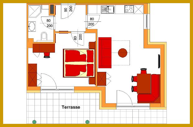 Plan und Skizze Appartement A